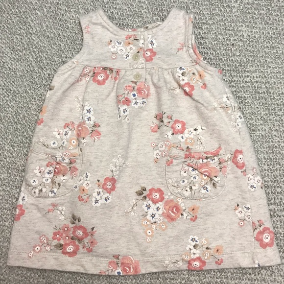 Carter's Other - Carter's Cream and Pink Sleeveless Baby Dress